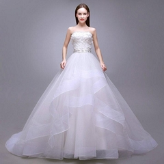 Strapless New Ball Gown Wedding Dress New Bridal Dress With Train 7334