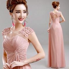 Best Seller Bare Leged Pink Chiffon Evening Dress Bridesmaid Dress 1868