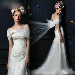 抹胸釘珠新款魚尾包臀顯瘦新娘婚紗禮服 含披肩 IM1206