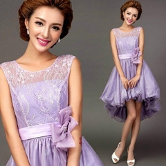 New A Line High Low Purple Lace Party Dress Evening Dress 1300