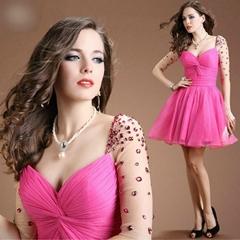 新款歐美禮服短款新娘敬酒服聚會宴會公司年會禮服 LC14611