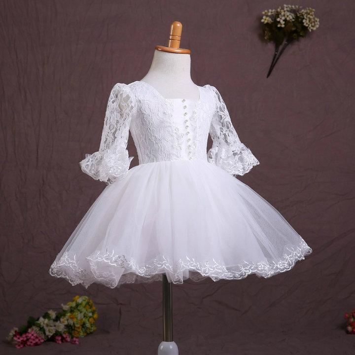 In Stock A Line Lace Flower Girl Dress With Sleeves FL122 1