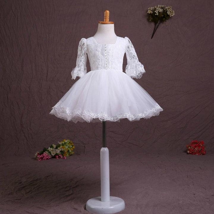 In Stock A Line Lace Flower Girl Dress With Sleeves FL122 2