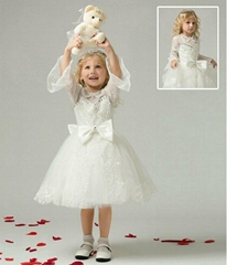 In Stock A Line Lace Beading Popular Flower Girl Dress With Sleeves FL01