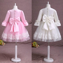 In Stock A Line Ivory Pink Flower Girl Dress With Long Sleeves FL10