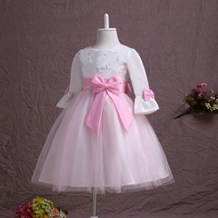 In Stock A Line Satin Flower Girl Dress With Long Sleeves FL61