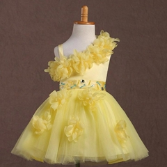 In Stock A Line Yellow Iovry Red One Shoulder Flower Girl Dress FL118