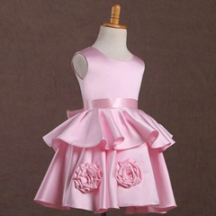 In Stock A Line Pink Satin Flower Girl Dress FL117