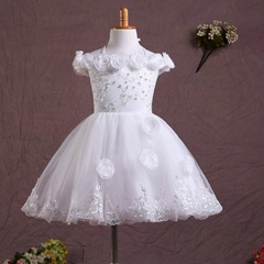 In Stock A Line Pink Satin Lace  Flower Girl Dress FL128