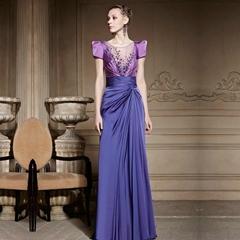 New Romantic Purple Floor Length Soft Satin Evening Dress 81629