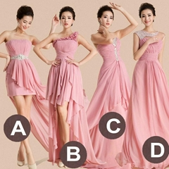 Beading Pink Chiffon Evening Dress Prom Dress Bridesmaid Dress LF195