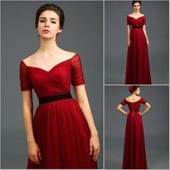 New Popular Off Shoulder Floor Length Tulle Evening Dress 2836