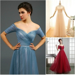Amazing Off Shoulder A Line Floor Length Beading Evening Dress Q1002