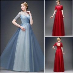 New Floor Length Beading See Through Tulle Evening Dress Q1040