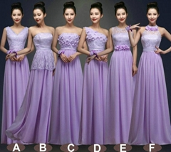 New Floor Length Light Purple Chiffon Bridesmaid Dress  Party Dress LF291