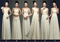 New Cheap Floor Length Champagne Chiffon