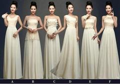 New Cheap Floor Length Champagne Chiffon Bridesmaid Dress Evening Dress LF292