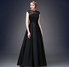 Satin Lace Beading A Line Evening Dress Prom Dress Q1013