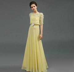 Floor Length Yellow Beading Chiffon A Line Evening Dress Prom Dress Q1006