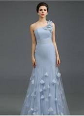 One Shoulder Mermaid Blue Floor Length Evening Dress Q1029