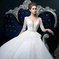 蕾絲深V領長袖一字肩齊修身地新娘婚紗禮服 SF1011