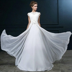 New A Line Appliqued Beach Chiffon Wedding Dress With Sweep Train SF1022