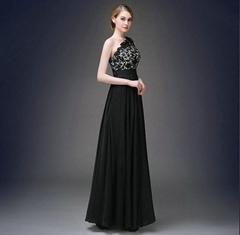 Black A Line One Shoulder Lace Chiffon Prom Dress Evening Dress Q1035