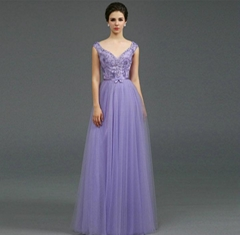 Heavy Beading Light Puple A Line Lace Prom Dress Evening Dress Q1005