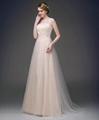 新款香檳色蕾絲釘珠新娘禮服 演出晚禮