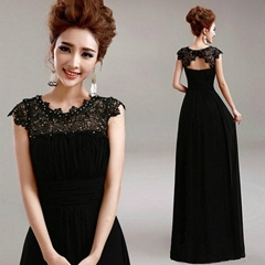 A Line Black Floor Length Lace Chiffon Evening Gown Prom Dress 7597