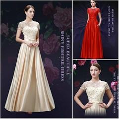 熱銷齊地蕾絲釘珠緞布晚禮服 新娘禮服 年會宴會禮服 LF15011