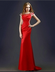Sexy See Through A Line Beading Red Prom Dress With Train L14006