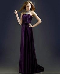 A Line Beading Purple Soft Satin Party Dress Evening Dress L14003