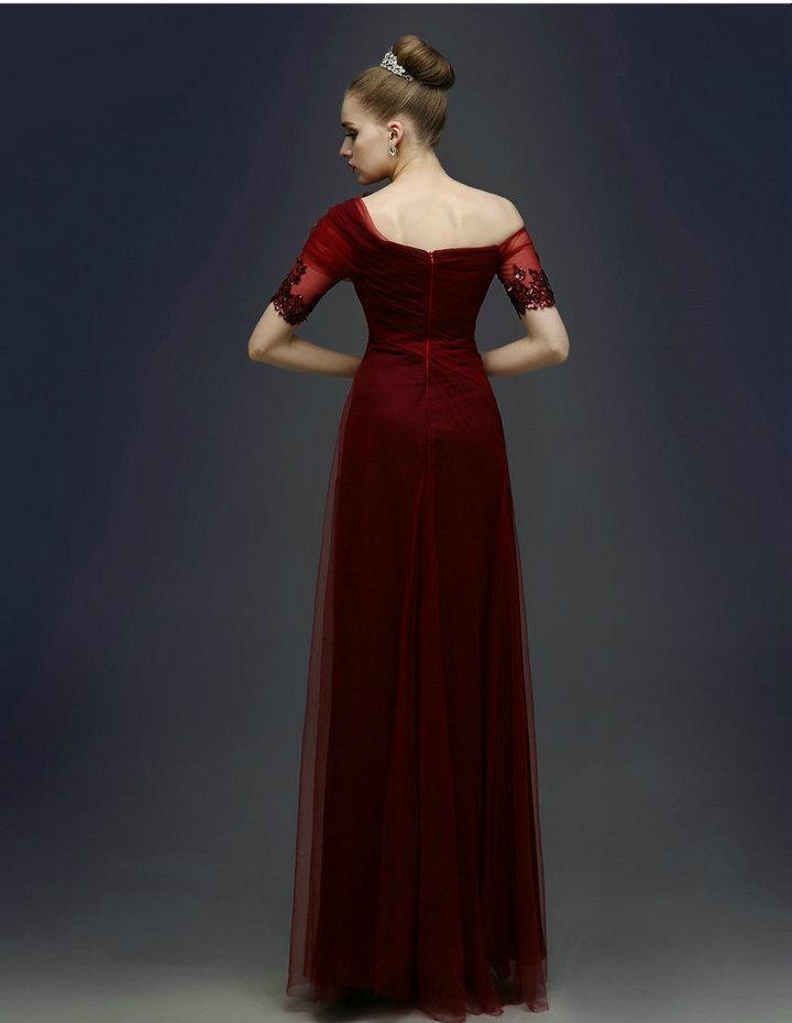 One shoulder dark red prom dresses