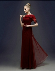 New Floor Length One Shoulder Dark Red Evening Dress Party Dresses 30632