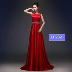 Elegent A Line Beading Red See Through Evening Dress LF262
