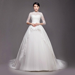 Wholesale Lace Satin High Neck Wedding Dress With Train HS-011