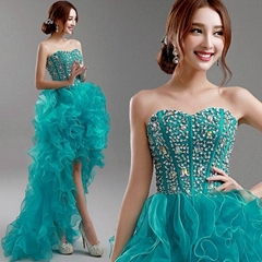 Fast Delivery Sweetheart Beading Organza Hi Low Party Dress 5957