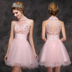 Short Red Lace Tulle Beading Wedding Dress Party Dress XLF001