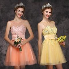 最新短款紅色蕾絲釘珠新娘婚紗 敬酒婚紗 XLF001