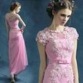 粉色蕾絲花朵透視婚紗新娘結婚敬酒服短袖婚禮晚裝禮服7788
