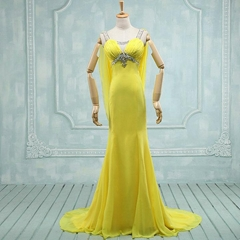 New Amazing Beading A Line Chiffon Evening Dress With Train k591