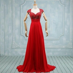 Beading Red A Line Chiffon Evening Gown Red Prom Dress k601