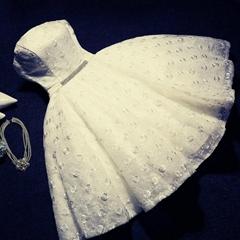 夏季沙灘抹胸蕾絲短款新娘禮服 伴娘禮服 宴會短禮服 LM-PO1