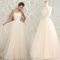 New A Line Sweetheart Floor Length Tulle Prom Dress Evening Gown L7080