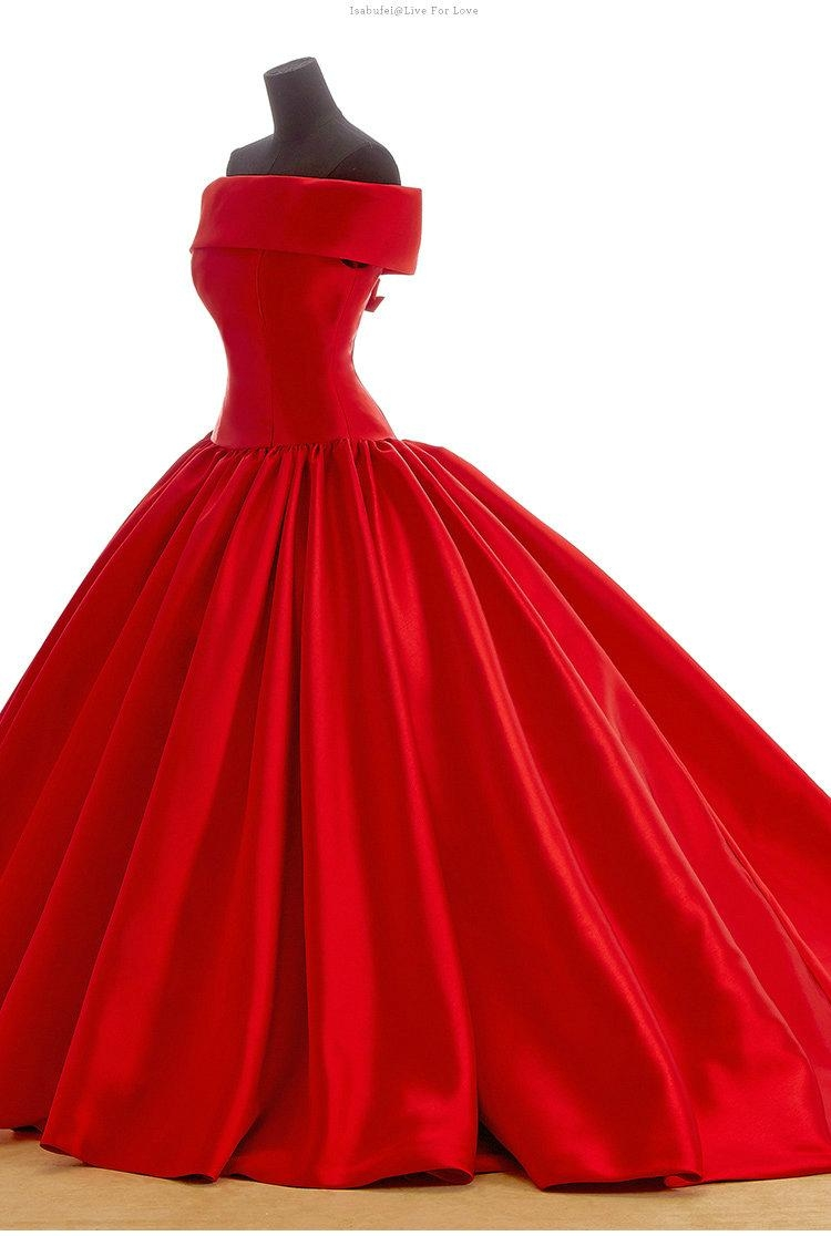A Line Red Wedding Dress
