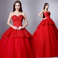 Sweetheart Red Lace Ball Gown Wedding Dress With Train QX7352