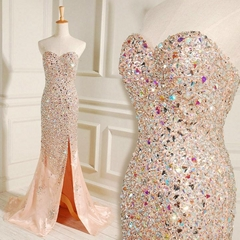 Custom Made Sweetheart Bling Bling A Line Evening Dress With Train L8723