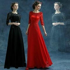 A Line Chiffon Half Sleeved Floor Length Evening Dress 278Red 266Blac