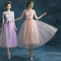 New A Line Sleeved Lace T Length Bridesmaid Dress 2307 light purple 3307 pink